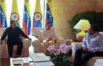 Cumbre realizada en la ciudad colombiana de Cartagena de Indias, entre los presidentes, Hugo Chávez de Venezuela, Juan Manuel Santos de Colombia y Porfirio Lobos de Honduras.